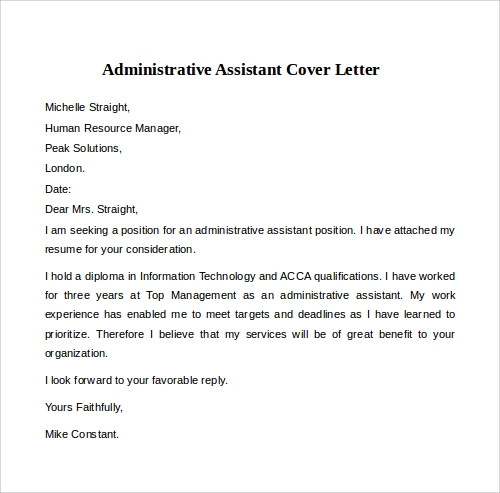 administrative assistant cover letter example in word