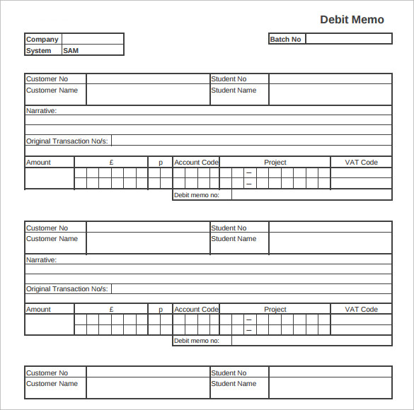 Sample Debit Memo    Documents In Pdf