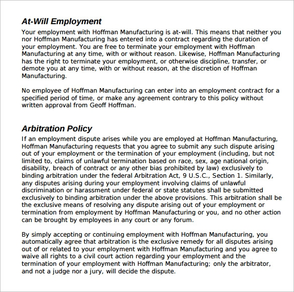 employee manual template