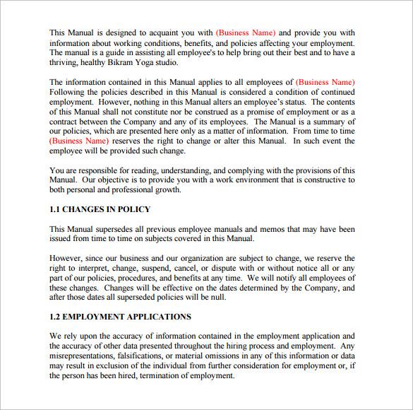 printable employee manual
