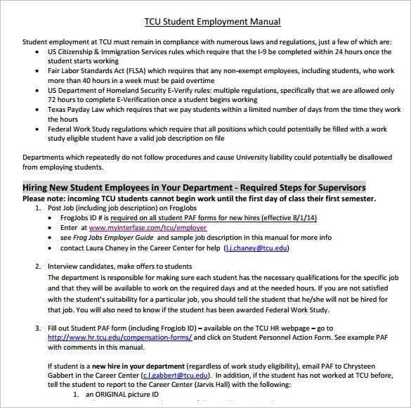tcu employee manual
