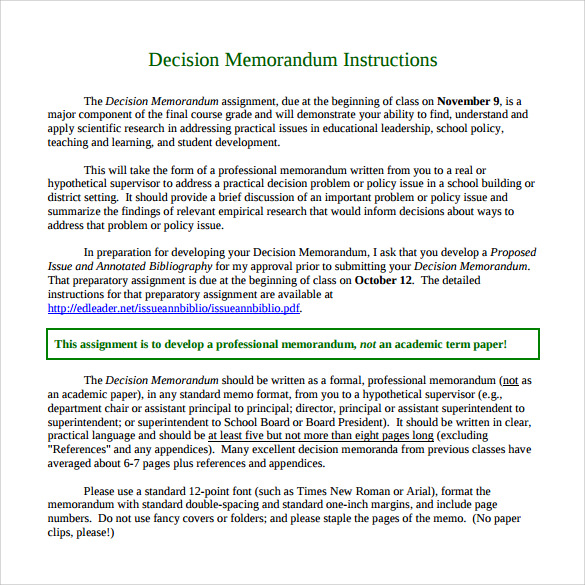 Sample Decision Memo   Documents In Pdf Word