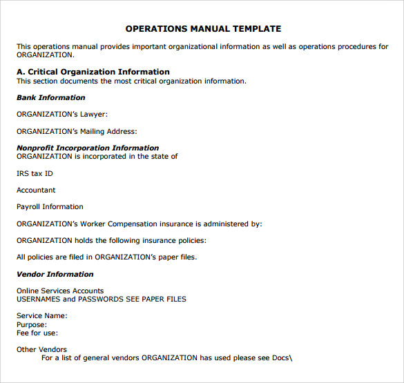 Sample Operations Manual   Documents In Pdf Word