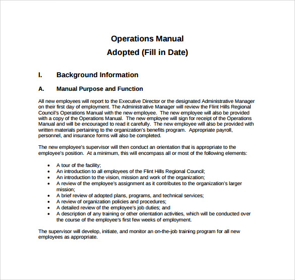 Operations manual template 11 free samples examples for Operations manual template for small business