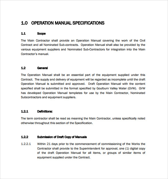 Sample Operations Manual 8 Documents in PDF Word – Operation Manual