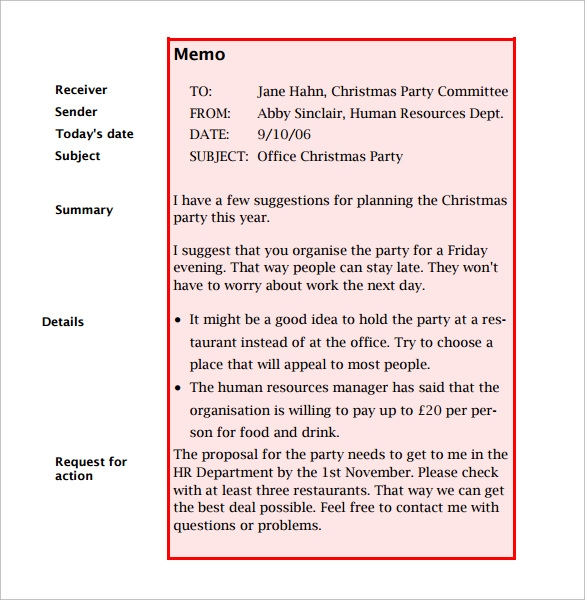 email memo template