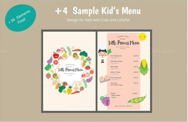 amazing kids menu template