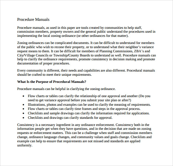 7 procedure manual samples examples templates sample for Employee procedure manual template
