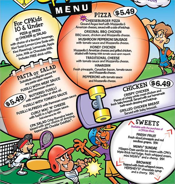 kids menu templates