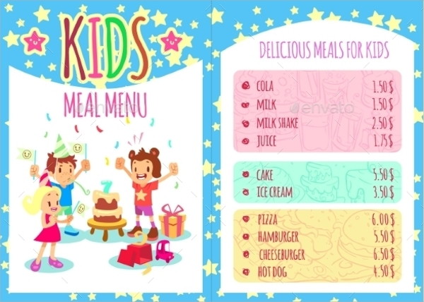 20 sample kids menu templates sample templates for Free printable menu templates for kids