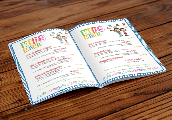 sample kids menu template