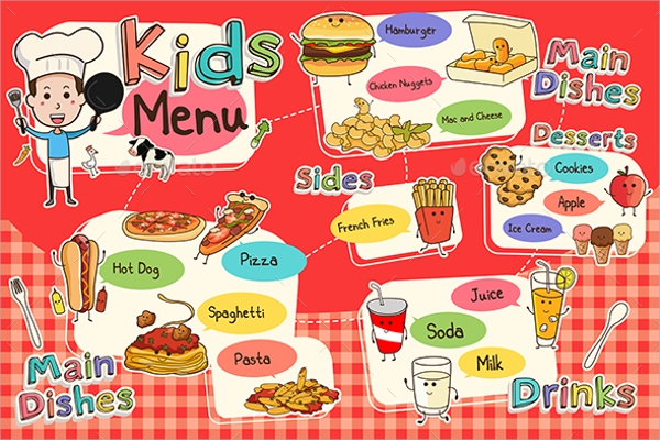 Spectacular Kids Menu Template  Free Kids Menu Templates