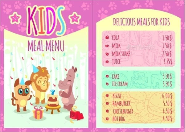 Gorgeous Kids Menu Template  Kids Menu Templates