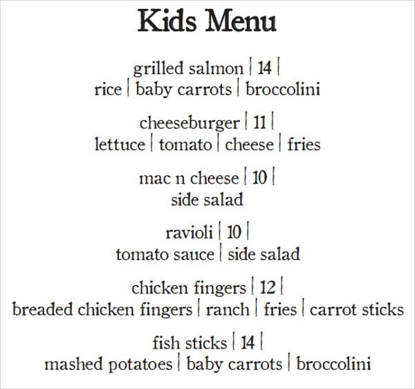20 Sample Kids Menu Templates Sample Templates