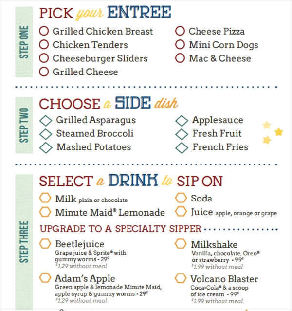 simple kids menu template