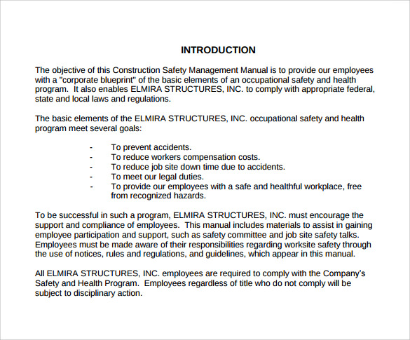 40 Construction Safety Manual Template Manual Guide