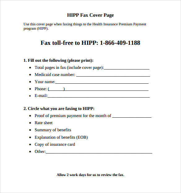 fax cover example