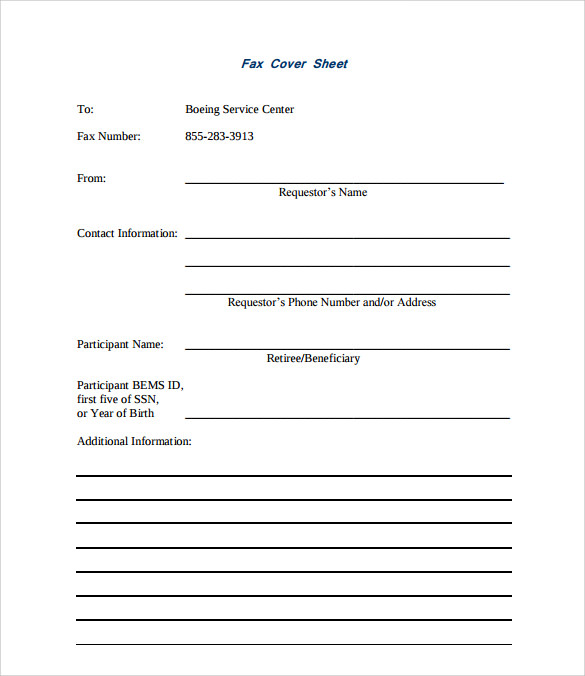 9  sample fax cover templates