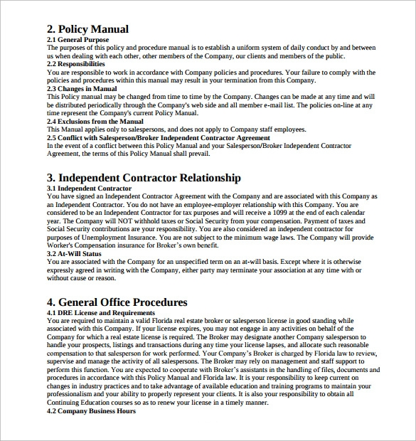 department manual template - 10 sample policy manuals sample templates