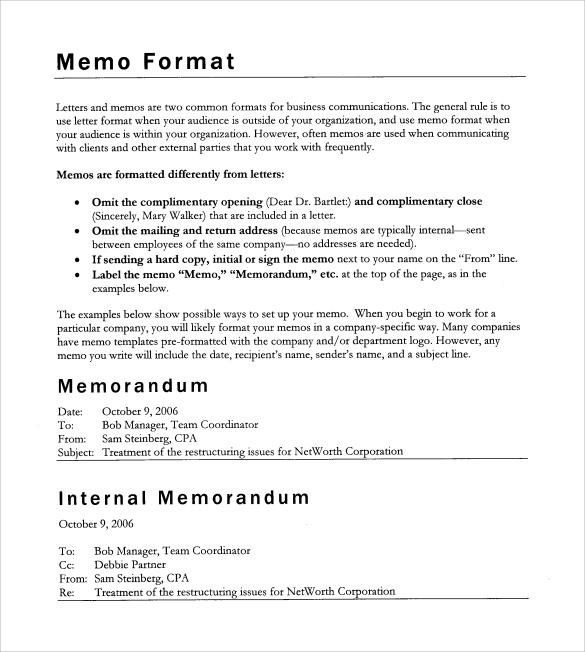 Sample Blank Memo - 6+ Documents In Pdf