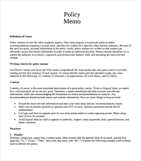 blank policy memo template