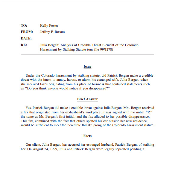 sample legal memo template