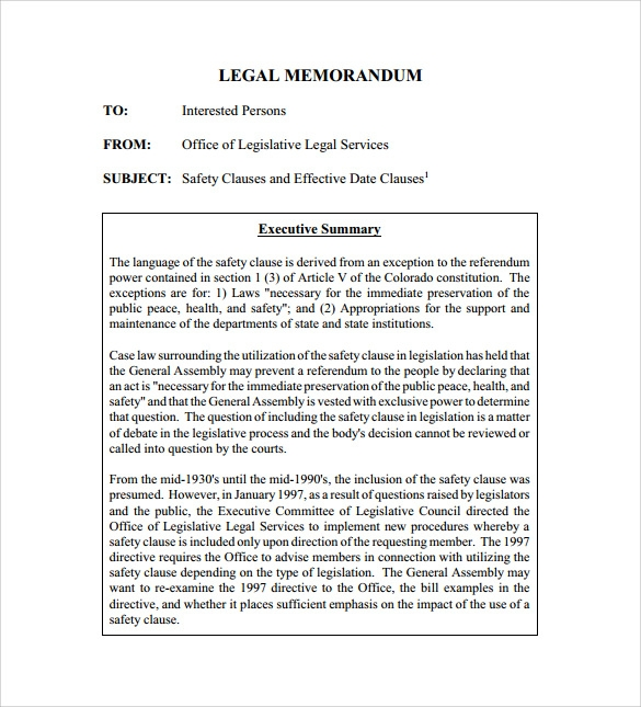 legal memorandum template