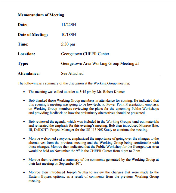 memorandum of meeting