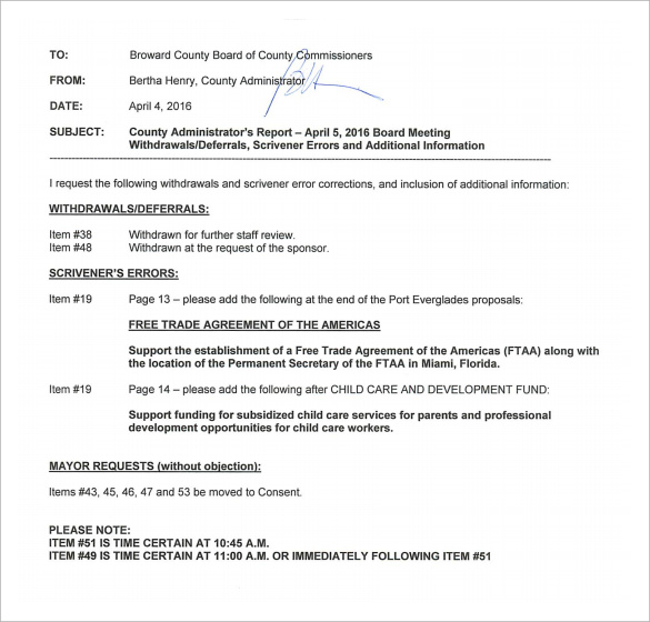 Sample Meeting Memo Template - 9 + Free Documents In Pdf , Word