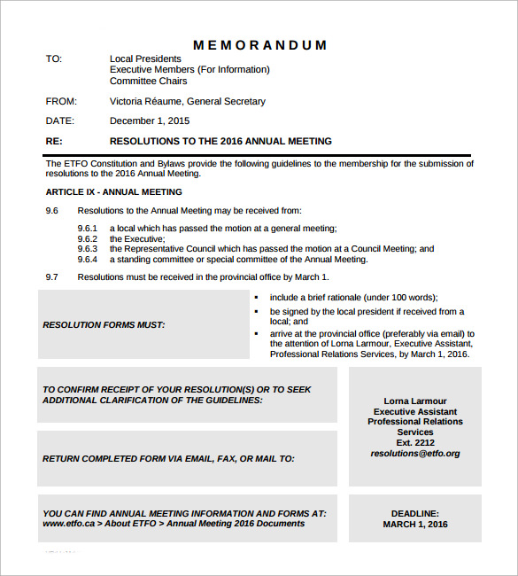 meeting memo template