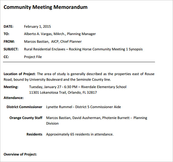 community meeting memorandum