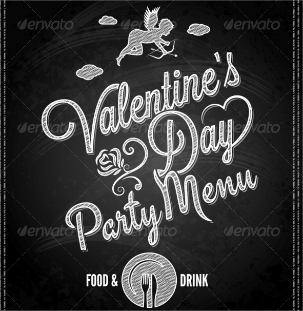 valentines day party menu template
