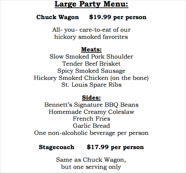 awesome party menu template