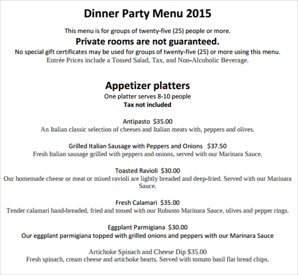 sample party menu template