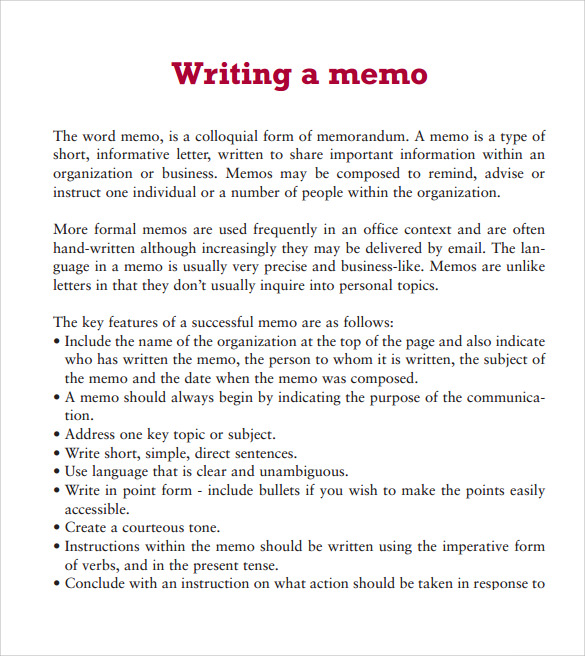 Sample Word Memo 5 Documents in PDF – Memo Templates for Word