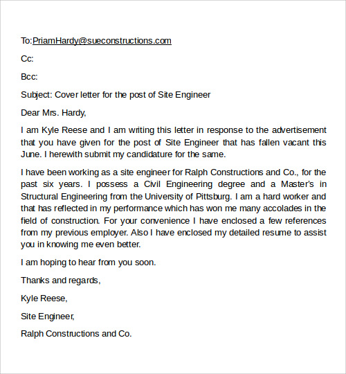 email cover letter format example
