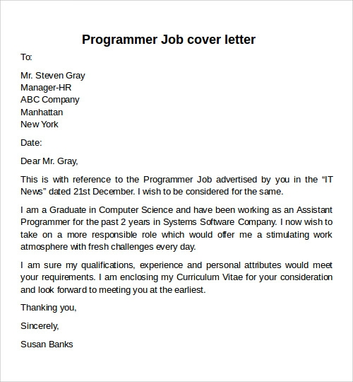 Cover Letter Examples For Computer Science