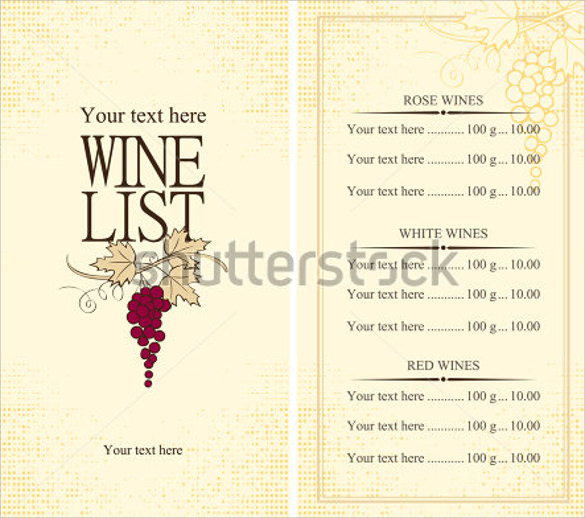 13 wine menu templates sample templates for Wine dinner menu template