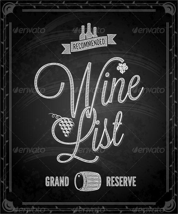 Wine Menu Template U2013 12 + Download Documents In Vector EPS Sample U2026