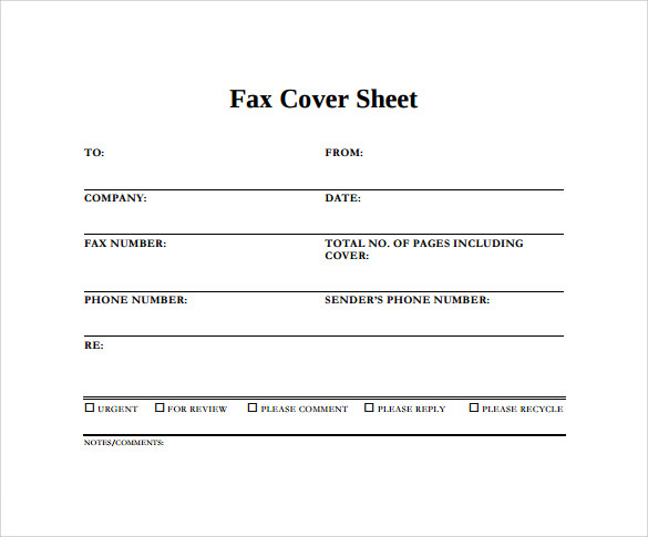 Blank Fax Cover Sheet Example