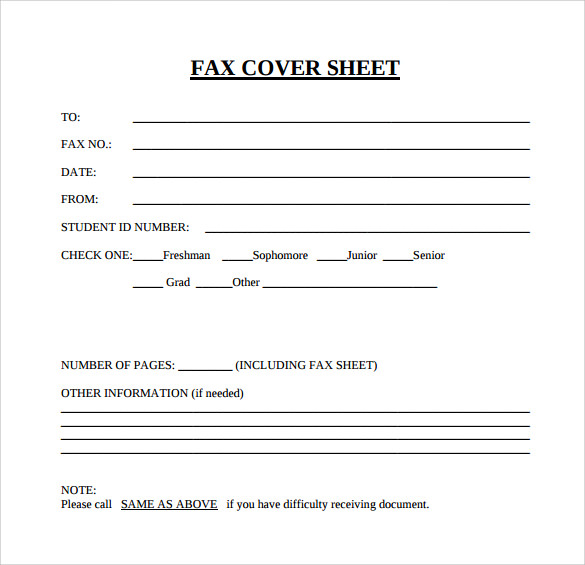 Sample Blank Fax Cover Sheet   Documents In  Word