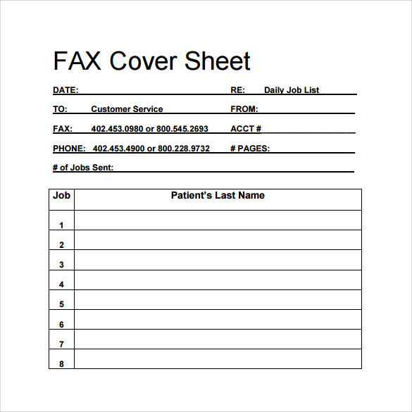 personal blank fax cover sheet