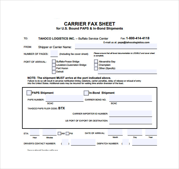 blank fax cover page pdf