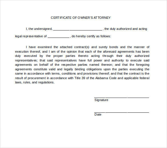 certificate of owners attorney
