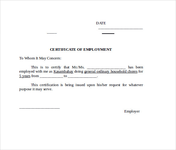 certificate of employment doc