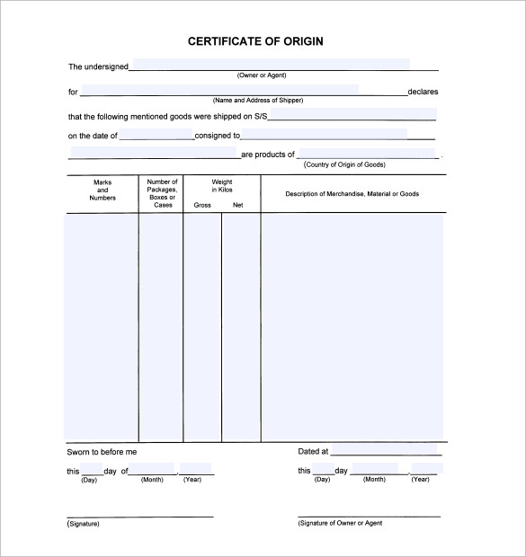 Sample Certificate Of Origin Template - 14+ Free Documents In Pdf