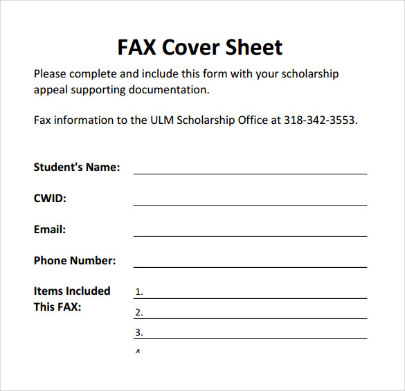 Printable Fax Cover Sheet PDF  Fax Coverletter