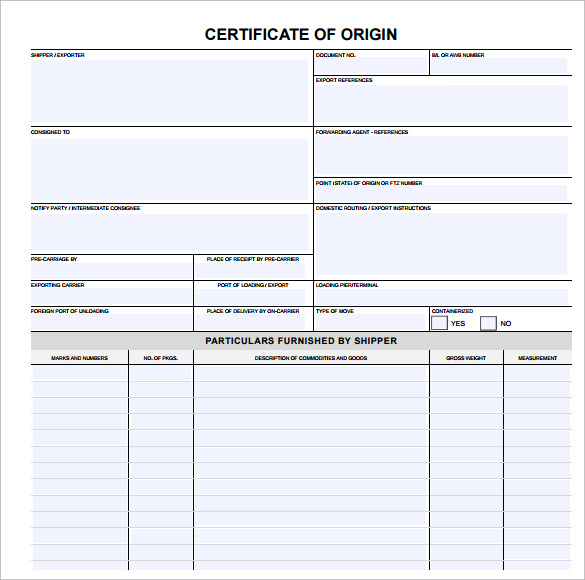 Certificate Of Origin Template .  Blank Certificate Of Origin