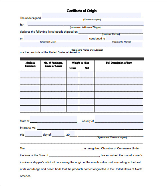 Sample Certificate of Origin Template 14 Free Documents in PDF – Generic Certificate of Origin