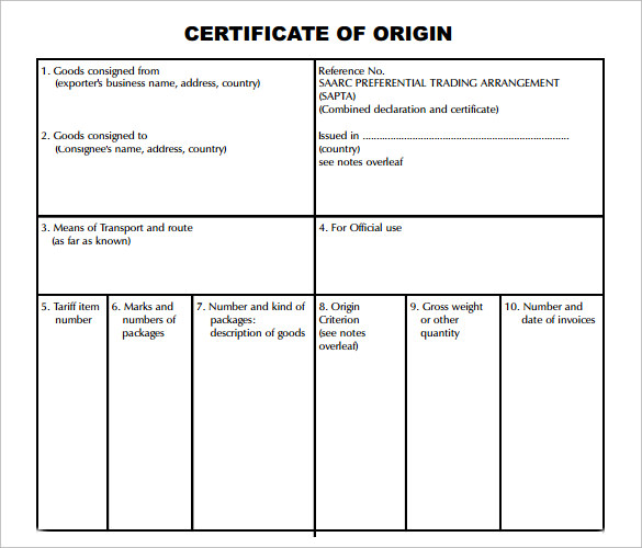 Printable Certificate Of Origin Template